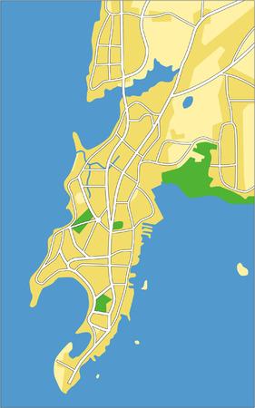 Vettore serie proprio Mappa della città di Mumbai.  Vettoriali