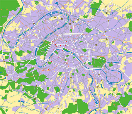 Layered vector city map of Paris France. Vector