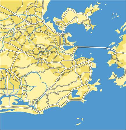 atlantic city: Layered vector city map of Rio De Janeiro.