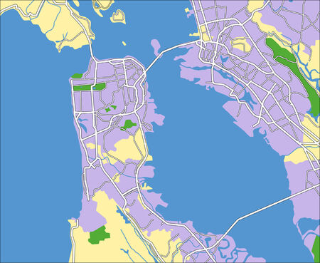Layered vector city map of San Franciso United Stated. Illustration
