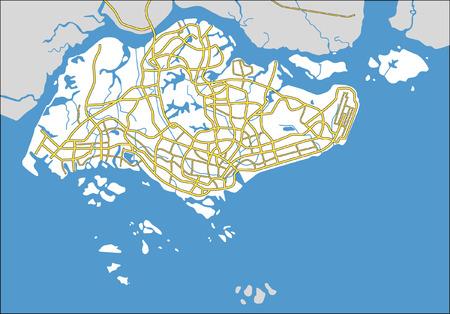 topografia: Capas vectoriales patr�n mapa de ciudad de Singapur.  Vectores