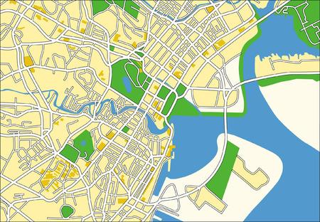 green street: Capas vectoriales patr�n mapa de ciudad de Singapur.  Vectores