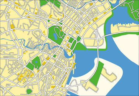rural road: Layered vector pattern city map of Singapore. Illustration