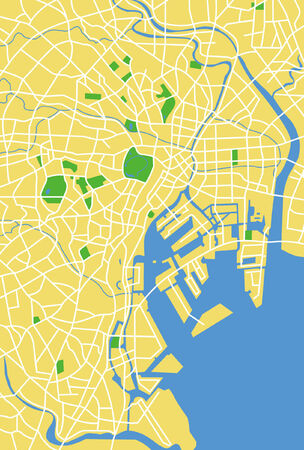 city park: Vector pattern city map of Tokyo, Japan.