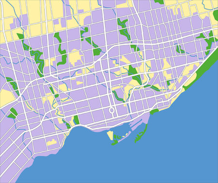 layered vector city map of Toronto Canada.