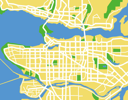 ベクトル パターン都市地図バンクーバー、カナダ。