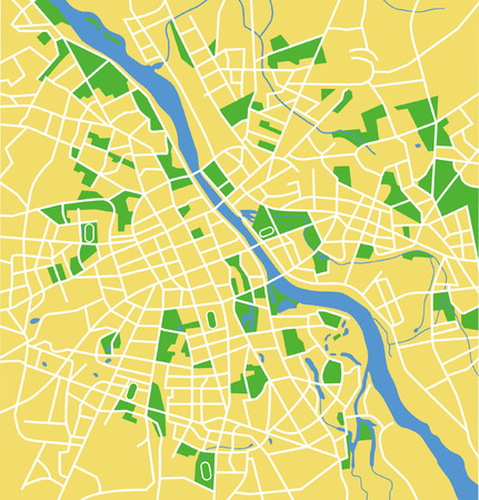 Precisely vector city map of Warsaw Poland.