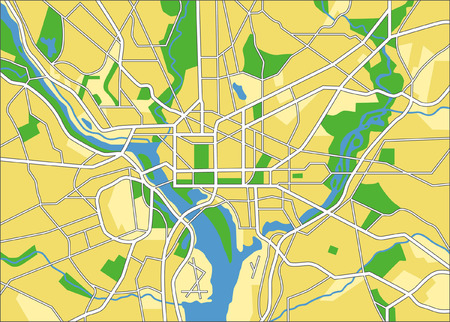 layered vector city map of Washington DC, United states. Vector
