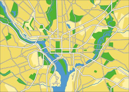 washington state: layered vector city map of Washington DC, United states. Illustration