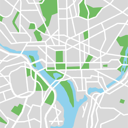 street view: Vector city map of Washington DC,United States.