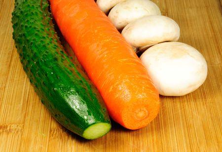 carrot cucumber and mushroom photo