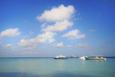 Picture of  parking boats at sea at maldives. photo