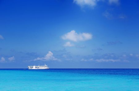 Picture of a parking boat at sea at maldives.