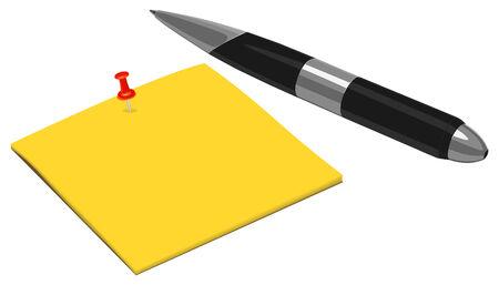 postscript:  Note and Pen  Illustration