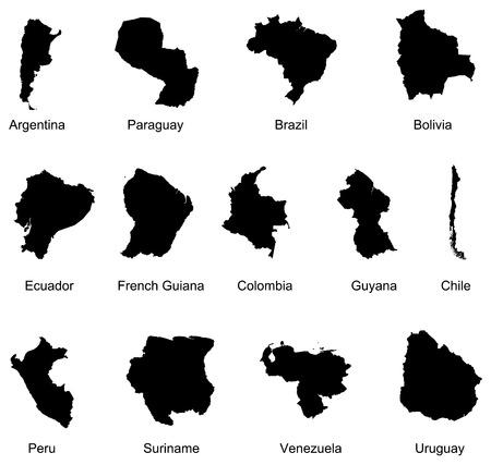 mapa del peru: 13 pa�ses de Am�rica del sur Vectores