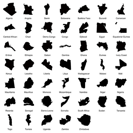 zambia: 47 African countries. Illustration