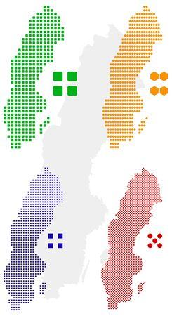 pixelate: layered pixel map of Sweden. Illustration