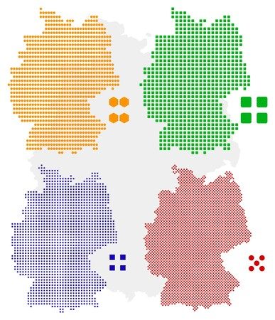 pixelate: different pixel map of germany.