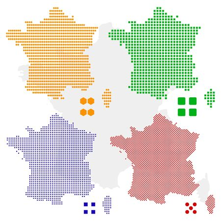 4 different pixel map of France. Vector