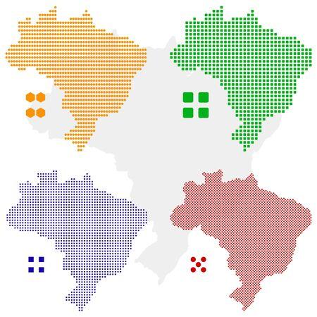 pixelate: layered pixel map of Brazil