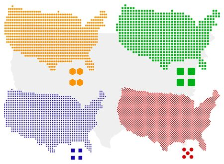 different pixel map of USA. Illustration