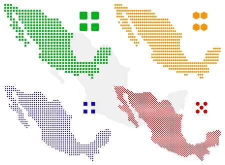 north america map: different pixel map of mexico. Illustration