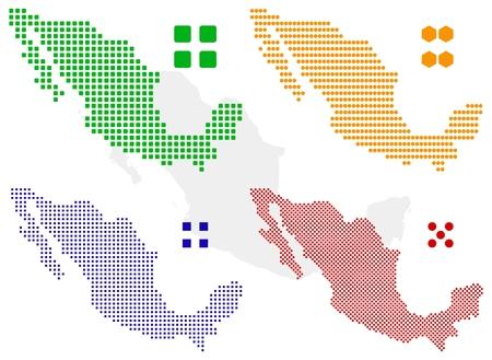 north america map: Mappa di pixel differenti del Messico. Vettoriali