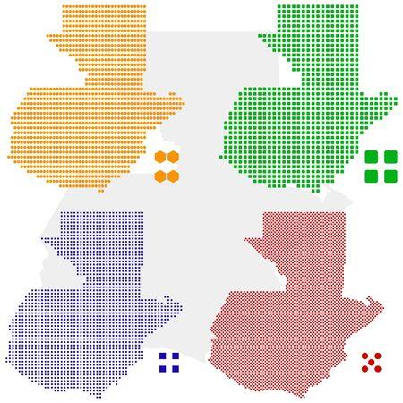 pixelate: layered pixel map of Guatemala. Illustration