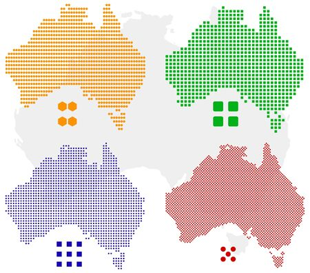 pixelate: different pixel map of Australia. Illustration