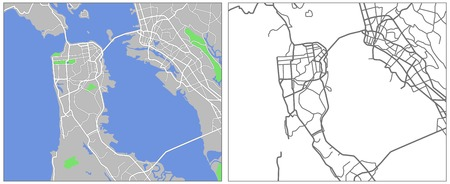 Illustration city map of San Francisco
