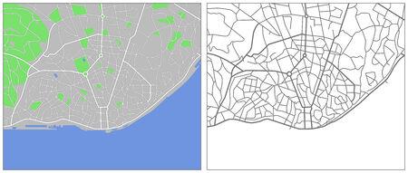 Illustration city map of Lisbon