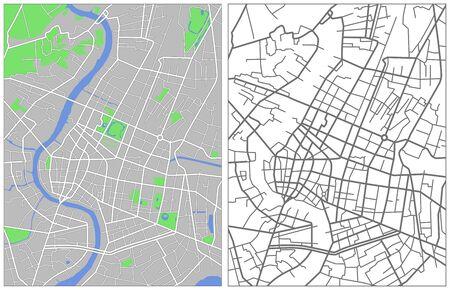 バンコクのイラスト市地図  イラスト・ベクター素材