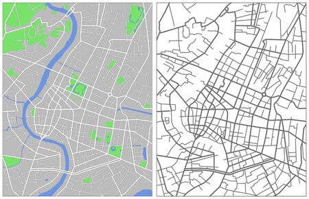 Illustration city map of Bangkok