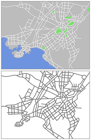 Illustration city map of Athens Vector