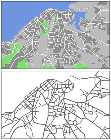 havana: Illustration city map of Havana