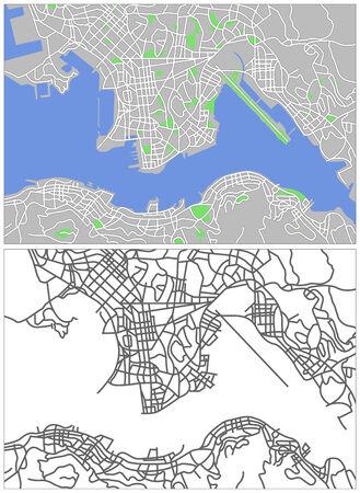 plat: Illustration city map of Hongkong