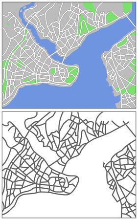 plat: Illustration city map of Istanbul