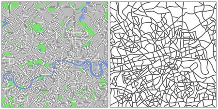 country road: Illustration city map of London