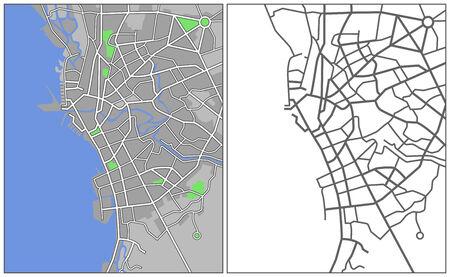 plat: Illustration city map of Manila