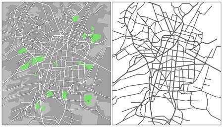 Illustration city map of Mexico city Illustration