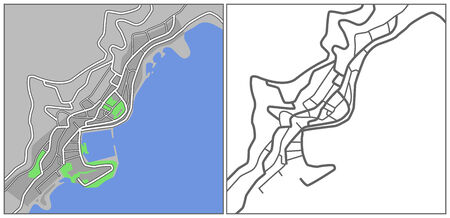 plat: Illustration city map of Monaco