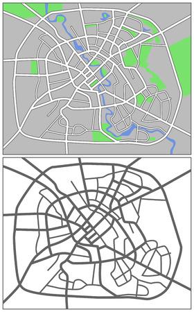 minsk: Illustration city map of Minsk