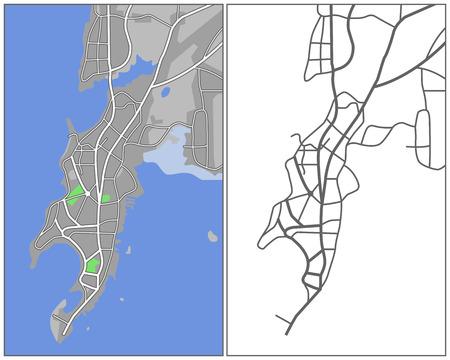 rural india: Illustration city map of Mumbai