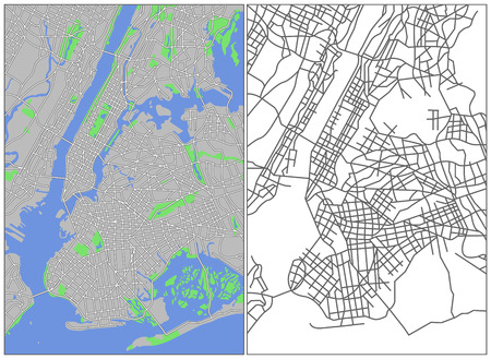 new york street: Illustration plan de la ville de New York
