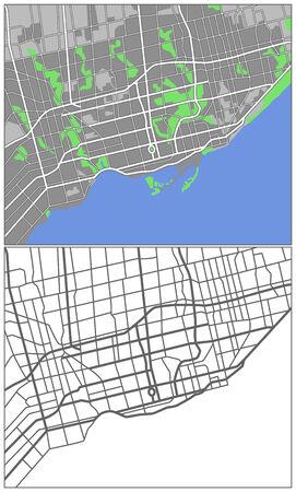 Illustration city map of Toronto  Illustration