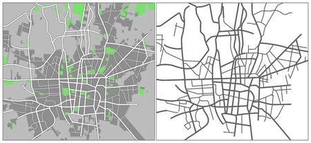 plat: Illustration city map of Tehran