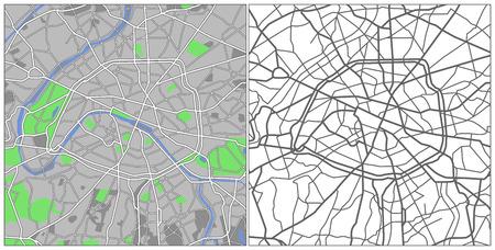 Illustration city map of Paris Illustration
