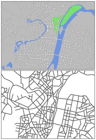 plat: Illustration city map of Pyongyang