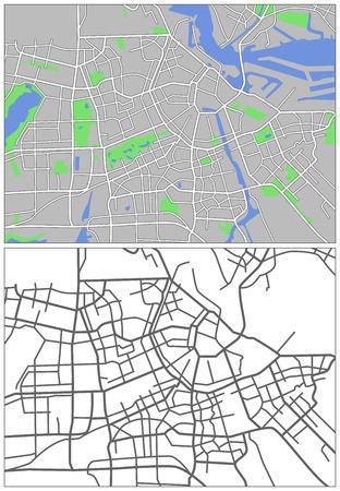 Illustration city map of Amsterdam