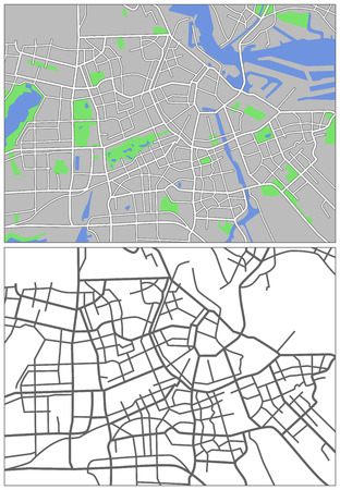 Illustration city map of Amsterdam Vector